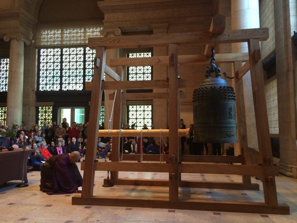 In Japanese Buddhist tradition, a bell is rung 108 times on December 31 to symbolize letting go of selfish qualities accumulated during the last year (Image by Ravi Chandra, 2015, Asian Art Museum San Francisco. See below for a link to this year's virtual ceremony online.)